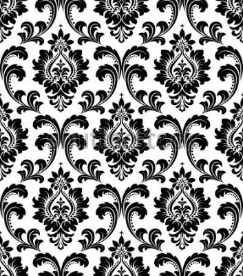 Fototapeta Damašek bezešvé květinovým vzorem. Královská tapeta. Květy na černém a bílém pozadí.