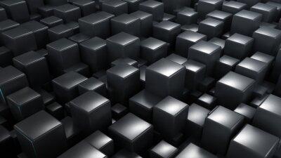 Fototapeta Dark metallic 3d render cubes elegant abstract digital background