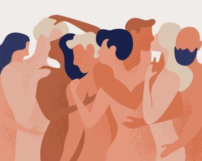 Fototapeta Dav nahých mužů a žen, objímání a líbání. Pojem polygamie, polyamorie, otevřený intimní romantický a sexuální vztah, svobodná láska. Barevné vektorové ilustrace v plochý kreslený styl.