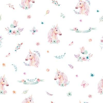 Fototapeta Dekorativní kouzelné jednorožce. Princezna duhové textury. Trendy růžový kreslený poník.