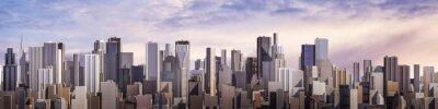 Fototapeta Den panorama města / 3D vykreslování denní moderního města pod jasnou oblohou