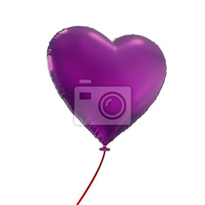 Fototapeta Den srdce balón Valentýn, 3D objekt izolovaný