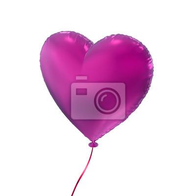 Fototapeta den srdce balónu purpurová Valentýna, 3D objekt izolovaný