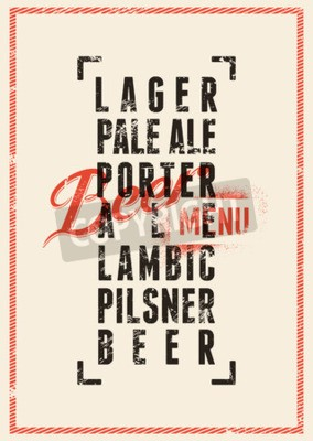 Fototapeta Design pivní nabídky. Vintage styl grunge pivo plakát. Vektorové ilustrace.