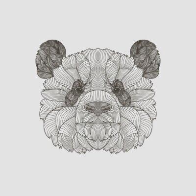 Fototapeta Detail zentangle. Boho ručně kreslenými rám panda portrét. Vektorové ilustrace.