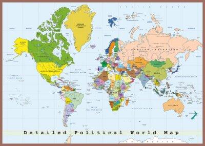 Fototapeta Detailed Political World Map