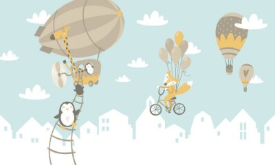 Fototapeta Děti grafické ilustrace. Použití pro tisk na zeď, polštář, dekorace dětí interiéru, dětské oblečení a košile, přání, vektor a další