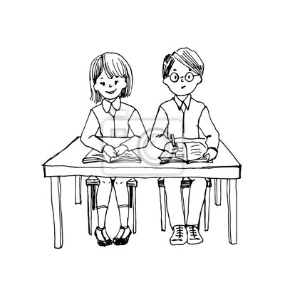 Deti Jsou Ve Skole U Stolu S Knihou A Notebookem Koncept Skoly