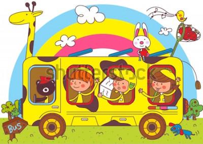 Fototapeta Děti na výletech školních autobusů