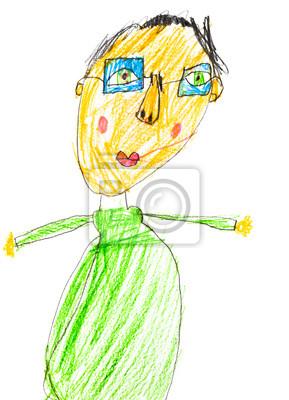 Detska Kresba Muz V Brylich Fototapeta Fototapety Barevne Tuzky