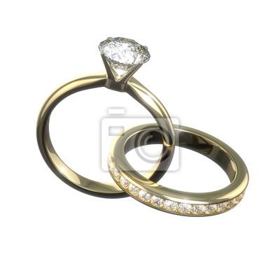 Diamantove Snubni Prsteny Izolovane S Orezovou Cestou Fototapeta