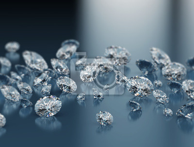 Fototapeta Diamanty na modrém pozadí
