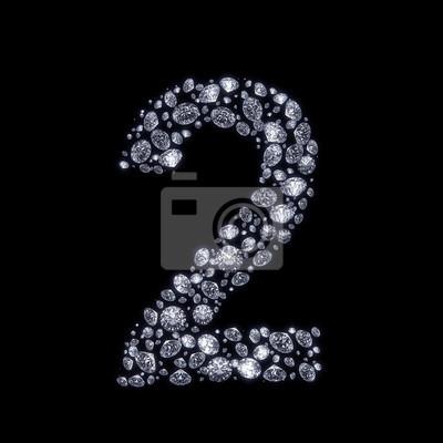 Fototapeta Diamond číslo izolované na černém s ořezovou cestou