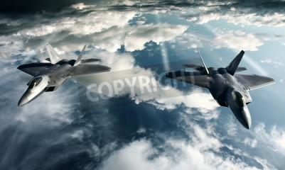 Fototapeta Digital imaging of Military plane doing a flight in high attitude