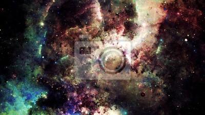 Fototapeta Digitální abstraktní světlé a barevné mlhoviny galaxie a hvězdy