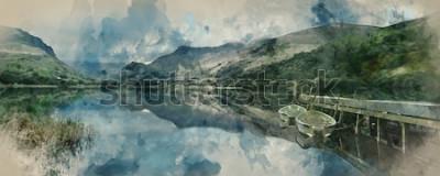 Fototapeta Digitální akvarelu Panorama veslařské lodě na jezeře s molo na pozadí pohoří