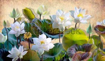 Fototapeta Digitální ilustrace kvetoucí bílé lotosové květy se zelenými listy na pozadí béžových stěn v podkroví. Tapety a nástěnné malby pro vnitřní tisk.