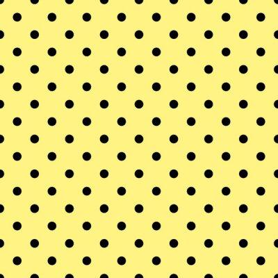 Fototapeta Dlaždice vektoru vzor s černými puntíky na žlutém pozadí
