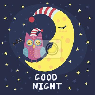 Dobrou Noc Karta S Spani Mesic A Roztomile Sova Vektorove Ilustrace