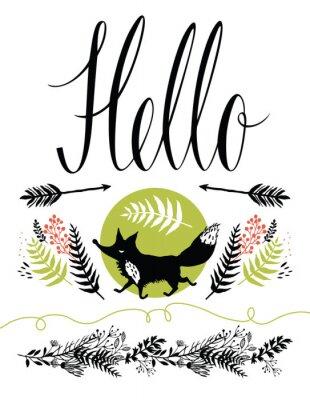 Fototapeta Dobrý den, pohlednice obalový design. Šťastné fox a lesní byliny, šipky