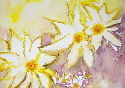 Fototapeta Dojem divokých květin na žlutém a červeném pozadí. Poklepáváním technika je u okrajů dává změkčující účinek v důsledku drsnosti změněné povrchu papíru.