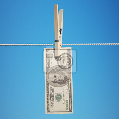 Dollar on Clothespin with Clipping Path