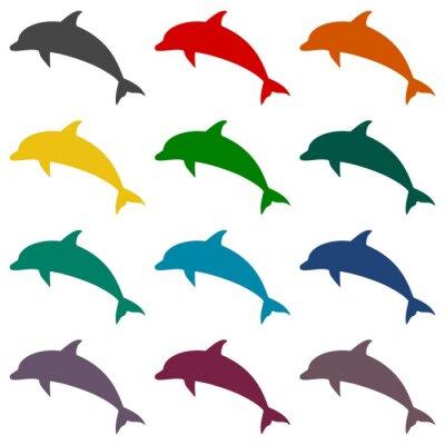 Fototapeta Dolphin ikony set
