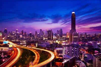 Fototapeta Doprava v moderní město v noci, Bangkok Thajsko