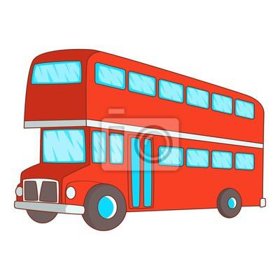 Double Ikona Dvoupatrovy Autobus Kresleny Styl Fototapeta