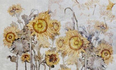 Fototapeta Drawing of sunflowers, illustration of flowers. Flowers for wallpaper, photo wallpaper, mural, card, postcard. Beautiful wallpaper design.