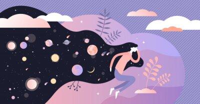 Fototapeta Dreams vector illustration. Abstract night deep sleep tiny persons concept.