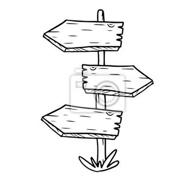 Dřevěná rozcestník se třemi ukazateli. ručně kreslené vektorové fototapeta  • fototapety linka, skica, ukazatel cesty | myloview.cz