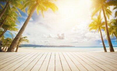 Fototapeta dřevěné doku s tropickým pozadí