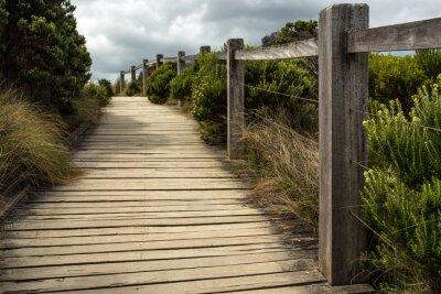 Fototapeta Dřevěný chodník podél plotu s zeleň rostoucí na obou stranách pod zatažené obloze. To je umístěn někde podél Great Ocean Road v Austrálii.