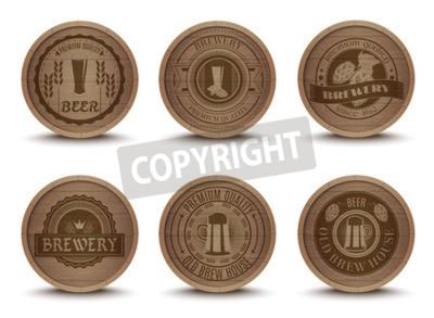 Fototapeta Dřevěný dům pivo emblémy retro stylu nápoj odkapávací rohože tácky ikony sbírka tisk abstraktní izolované ilustrace
