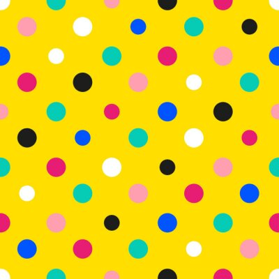 Fototapeta Duha barevné polka dot žlutém pozadí vektorové ilustrace