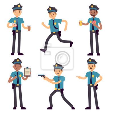 Dustojnik Policista Vektorove Kreslene Znaky Izolovane Patrol