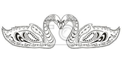 Dve Labute Zentangle Stylizovane Ilustrace Vektor Bezmocny