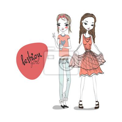 Fototapeta Dvě módní dívka ilustrace nosit módní a stylové oblečení  Džíny 79e46f23b6