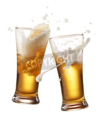 Fototapeta dvě sklenice piva opékání vytváření šplouchnutí
