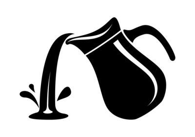 Fototapeta Džbán nalijte mléko nebo vodní kanystr. Jednoduché logo.
