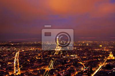 Fototapeta Eiffelova věž pohled shora po západu slunce