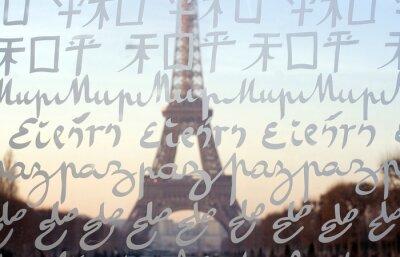 Fototapeta Eiffelova věž vidět skrz zdi za mír