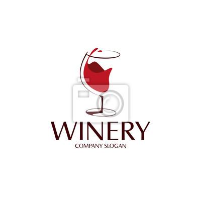 Fototapeta elegant wine glass logo template