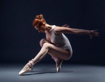 Fototapeta Elegantní štíhlá baletka tančí ve studiu