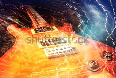 Fototapeta Elektrická kytara obklopená blesky