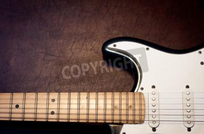 Fototapeta Elektrická kytara tělo a krk detail na dřevěné pozadí vinobraní vzhled