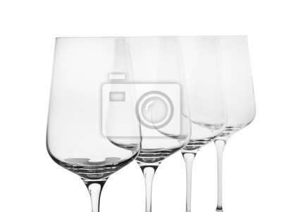 Fototapeta Empty clear wine glasses on white background