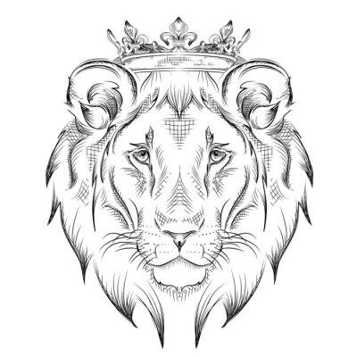 Fototapeta Etnické ruční kreslení hlava lva nosí korunu. totem / tetování design. Používá se pro tisk, plakáty, trička. vektorové ilustrace