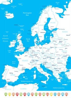 Fototapeta Europe - mapa, navigační ikony - illustration.Image obsahuje další vrstvy: Land kontury, názvy zemí a pozemky, názvy měst, názvy voda objektů, navigační ikony.